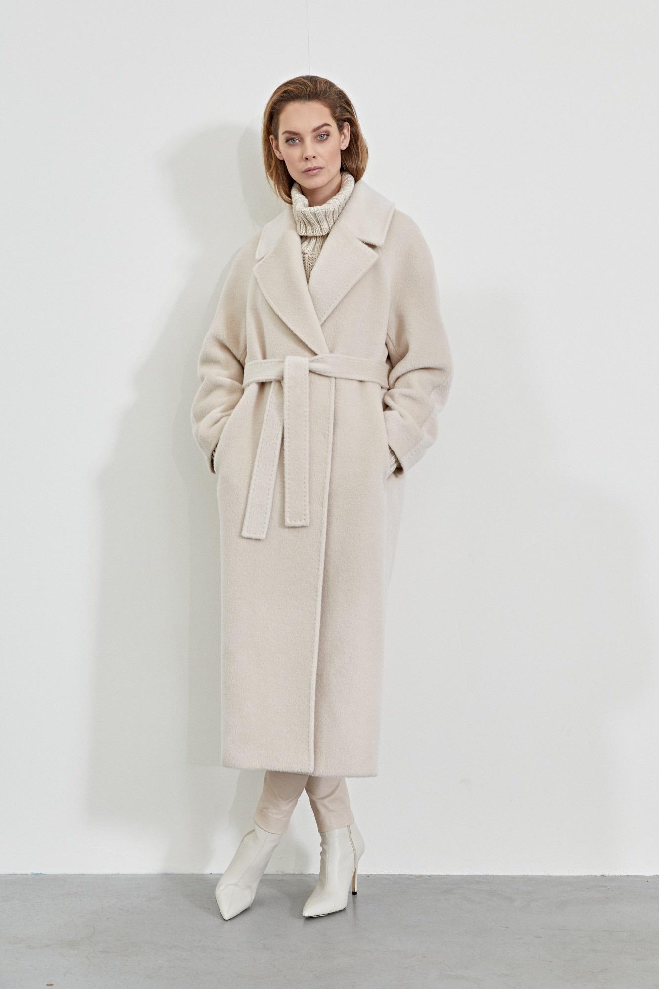 Elsa Coat with Belt - White Sand-2