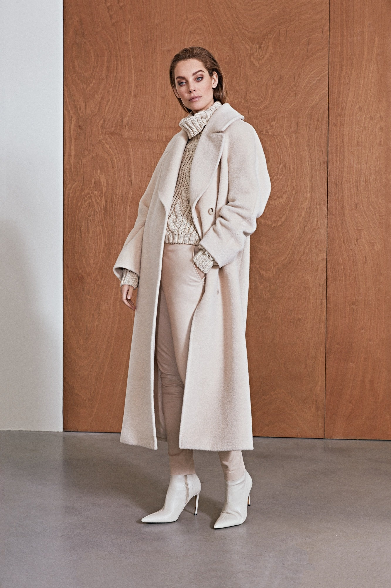 Elsa Coat with Belt - White Sand-4