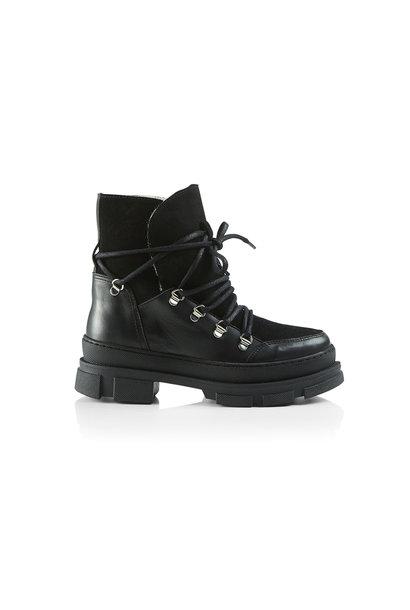 Kiara Wool Suede Boot - Black