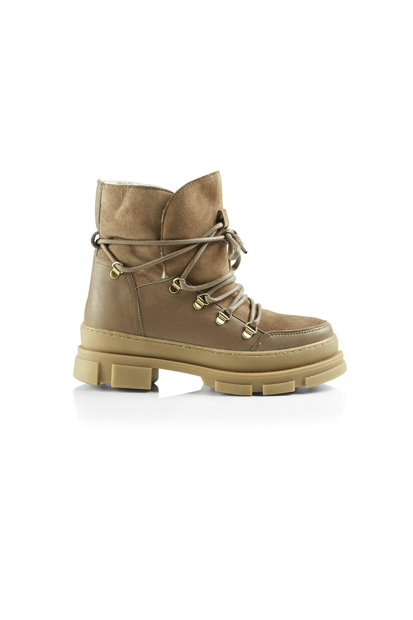 Kiara Wool Suede Boot - Khaki-1