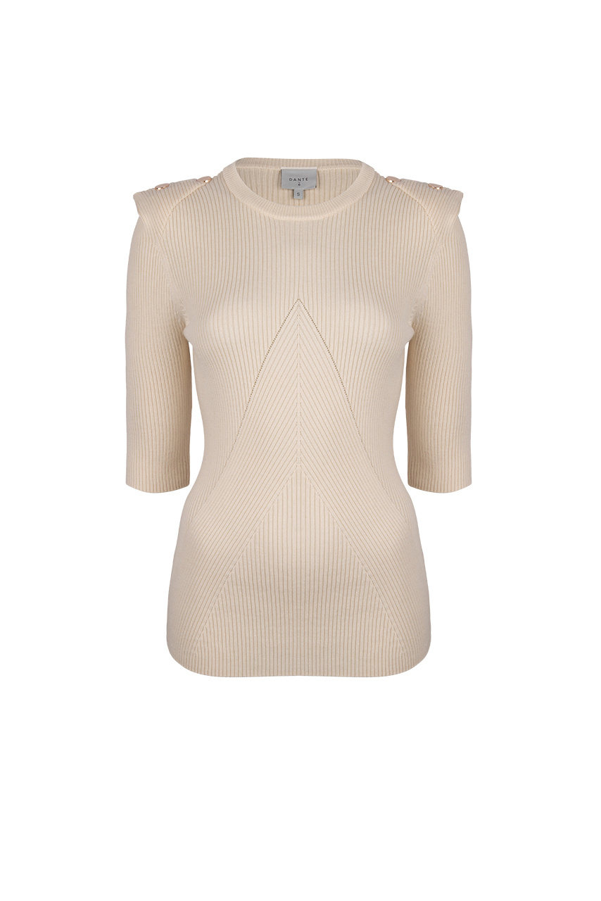 Sephine Detail Button Sweater - Bone-1