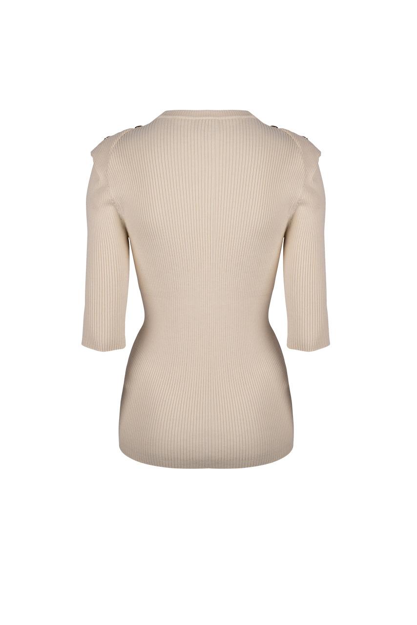 Sephine Detail Button Sweater - Bone-4