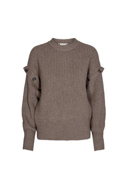 Rowie Button Knit Trui - Walnoot Bruin