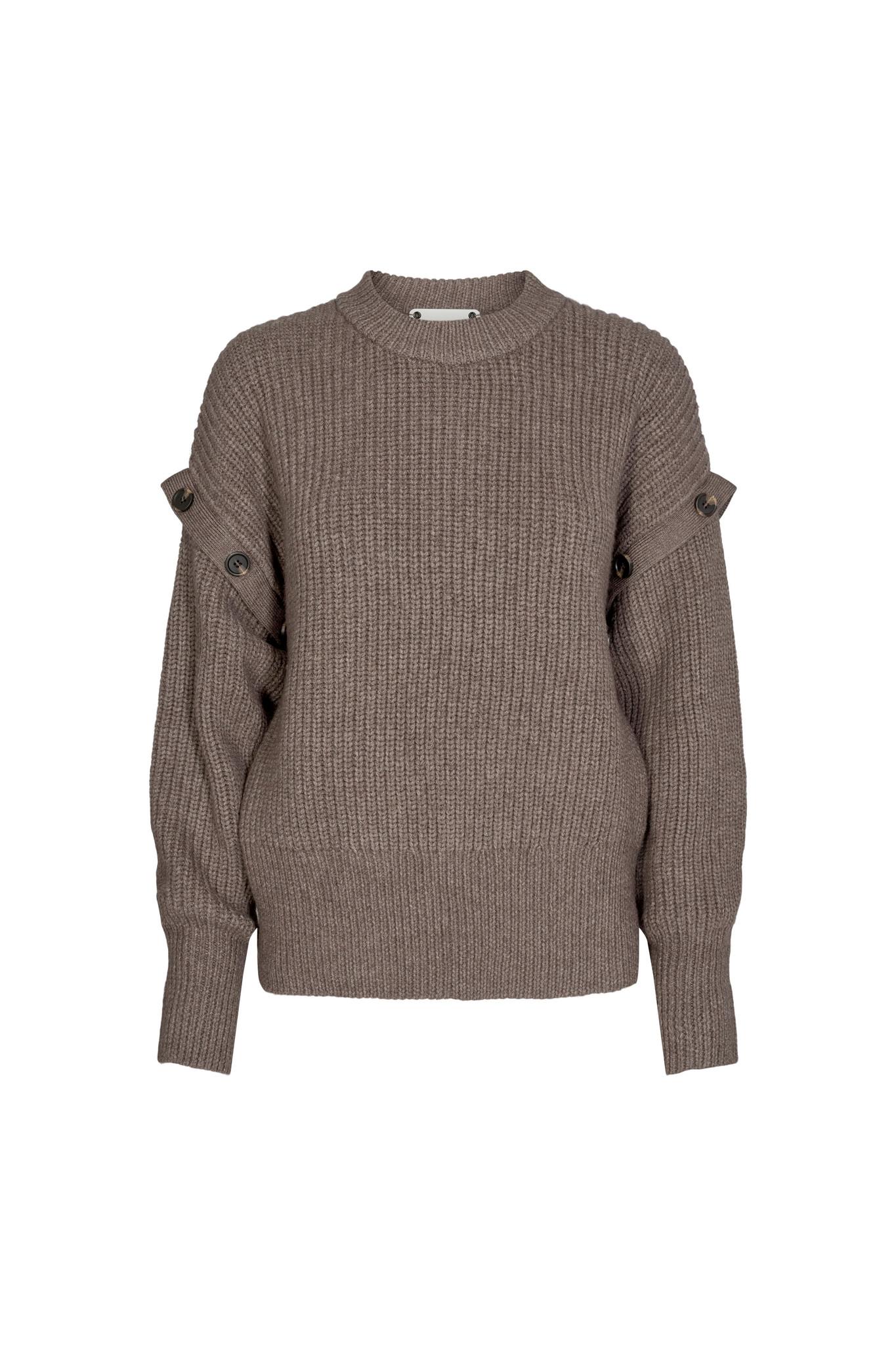 Rowie Button Knit Jumper - Walnut-1