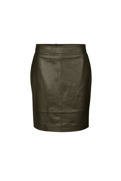 Francie Mini Leather Skirt - Wren