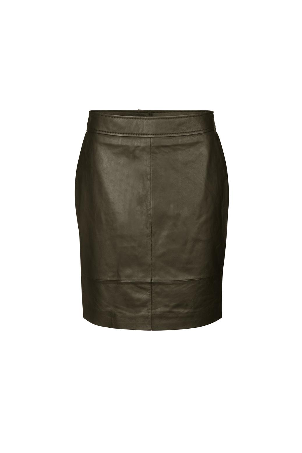 Francie Mini Leather Skirt - Wren-1