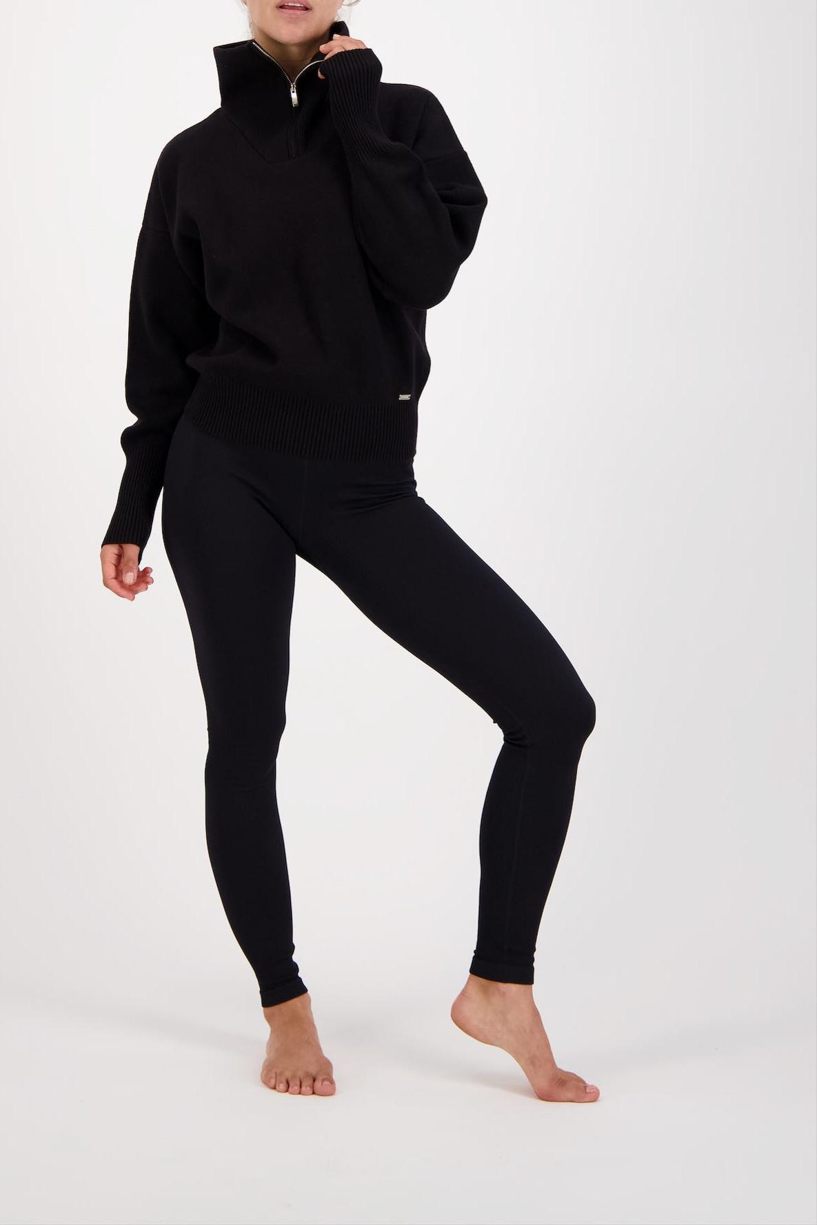 Olly Half-Zip Knit Sweater - Black-6