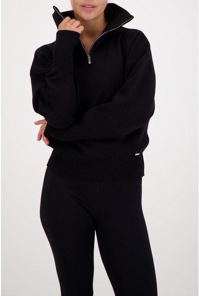 Olly Half-Zip Knit Sweater - Black