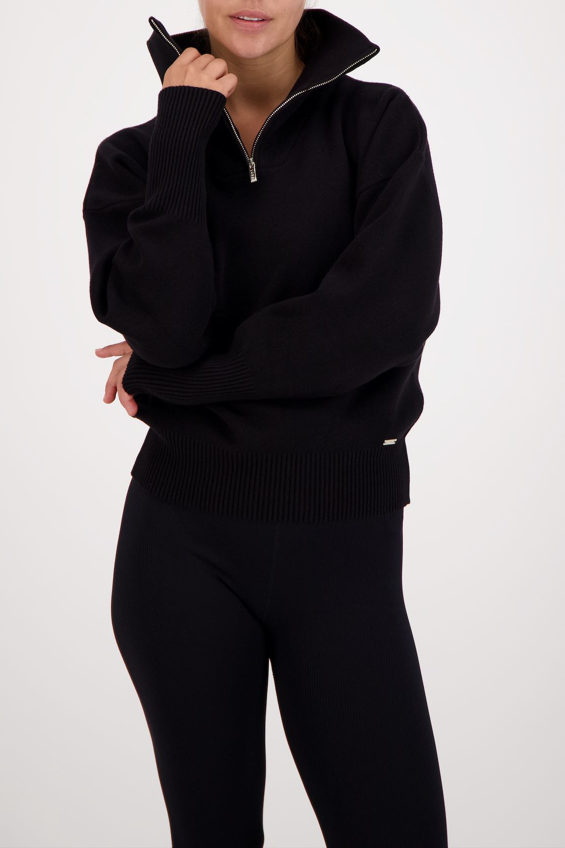 Olly Half-Zip Knit Sweater - Black-1