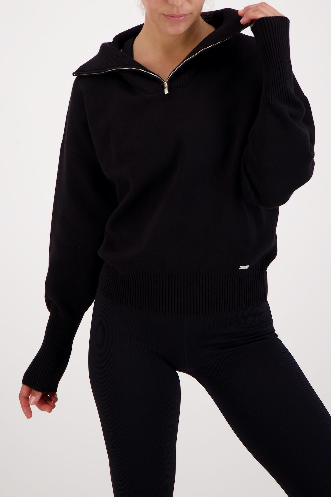 Olly Half-Zip Knit Sweater - Black-2
