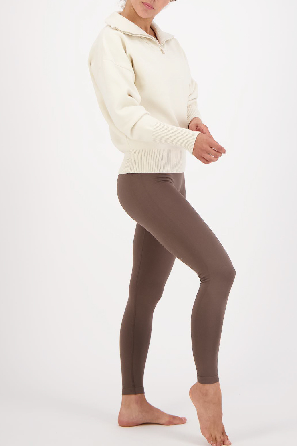Olly Half-Zip Knit Sweater - Cream White-4