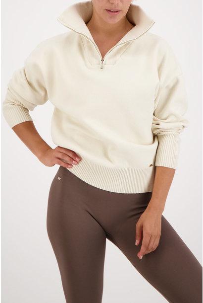 Olly Half-Zip Knit Sweater - Cream White