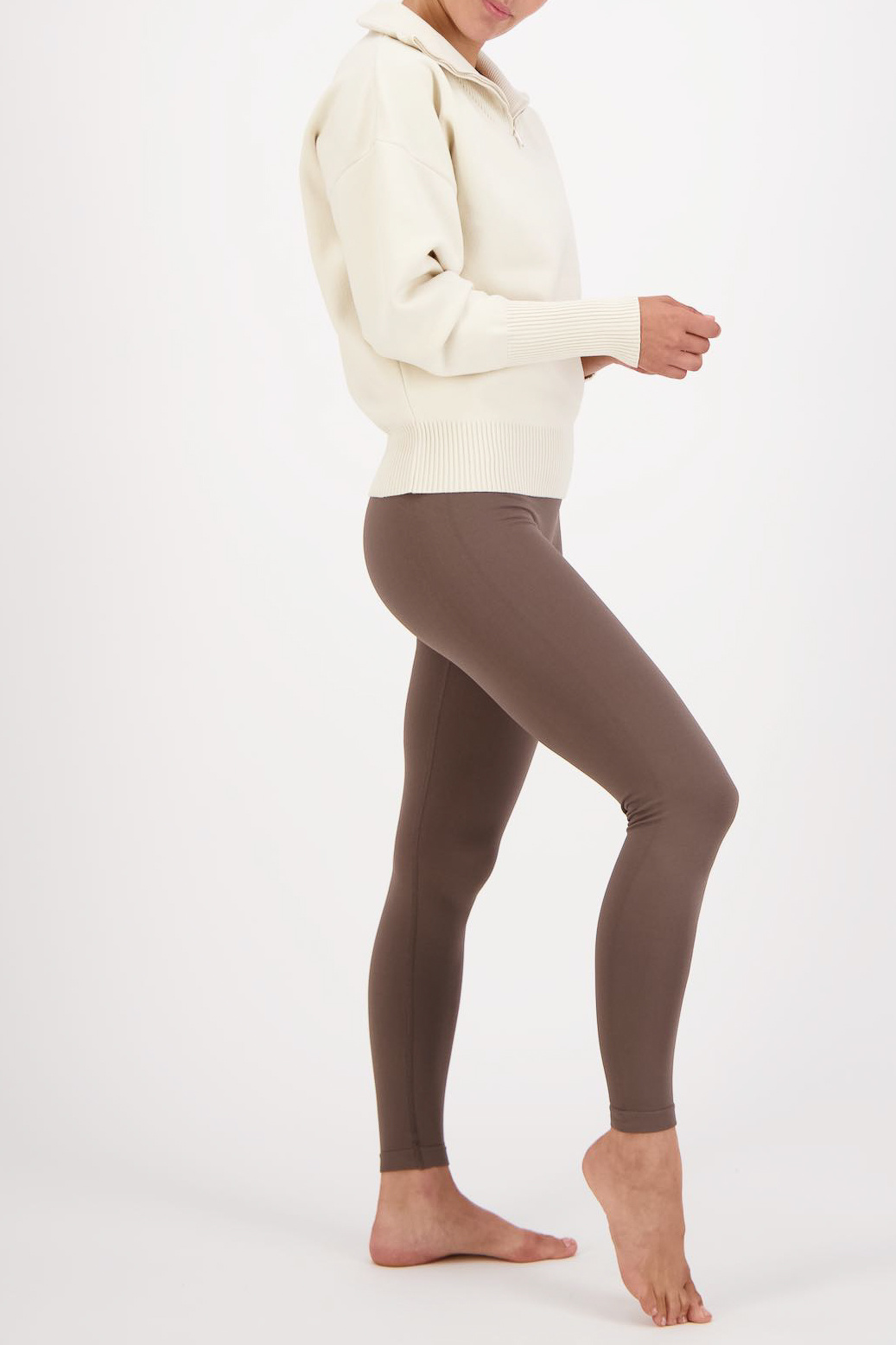 Olly Half-Zip Knit Sweater - Cream White-5