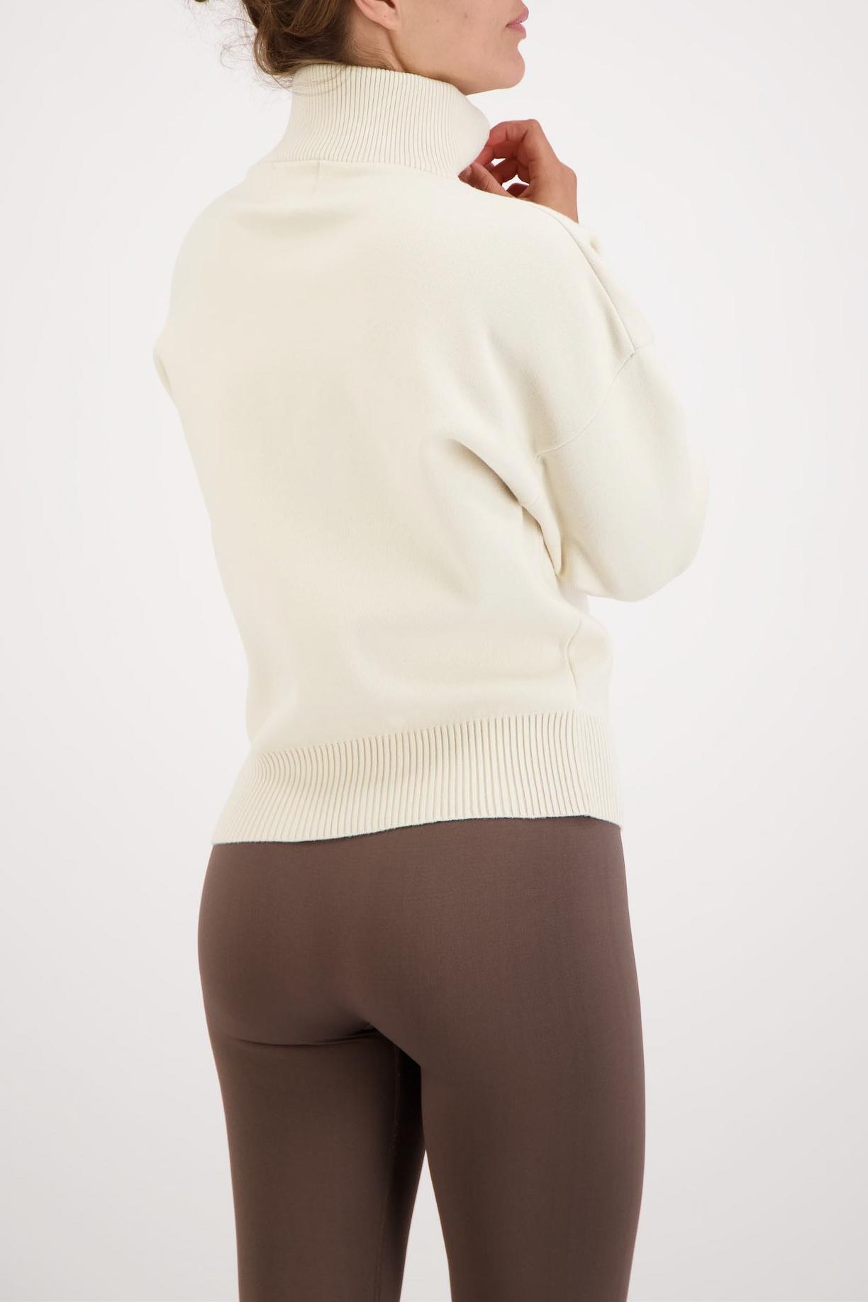 Olly Half-Zip Knit Sweater - Cream White-3