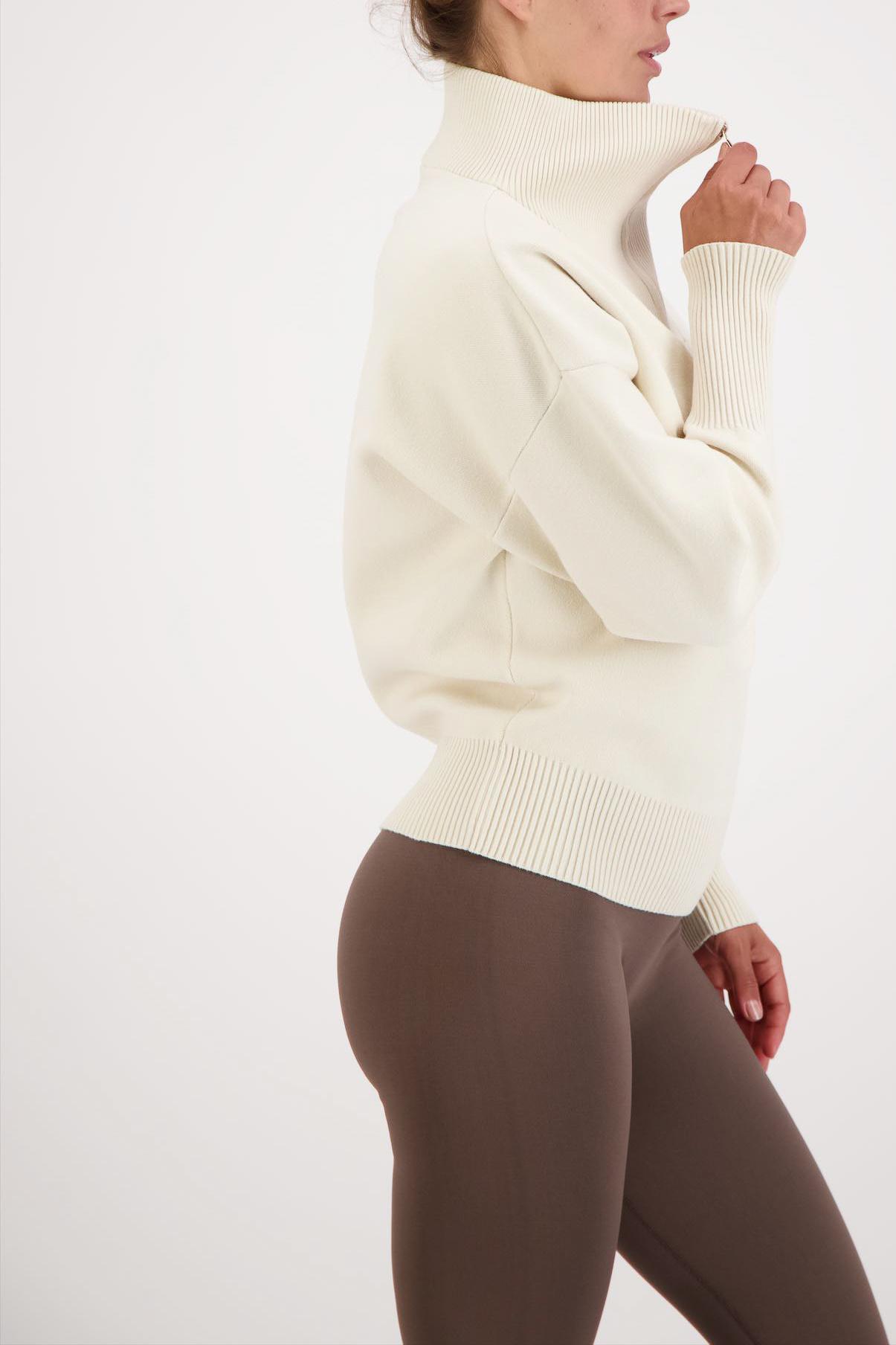 Olly Half-Zip Knit Sweater - Cream White-2