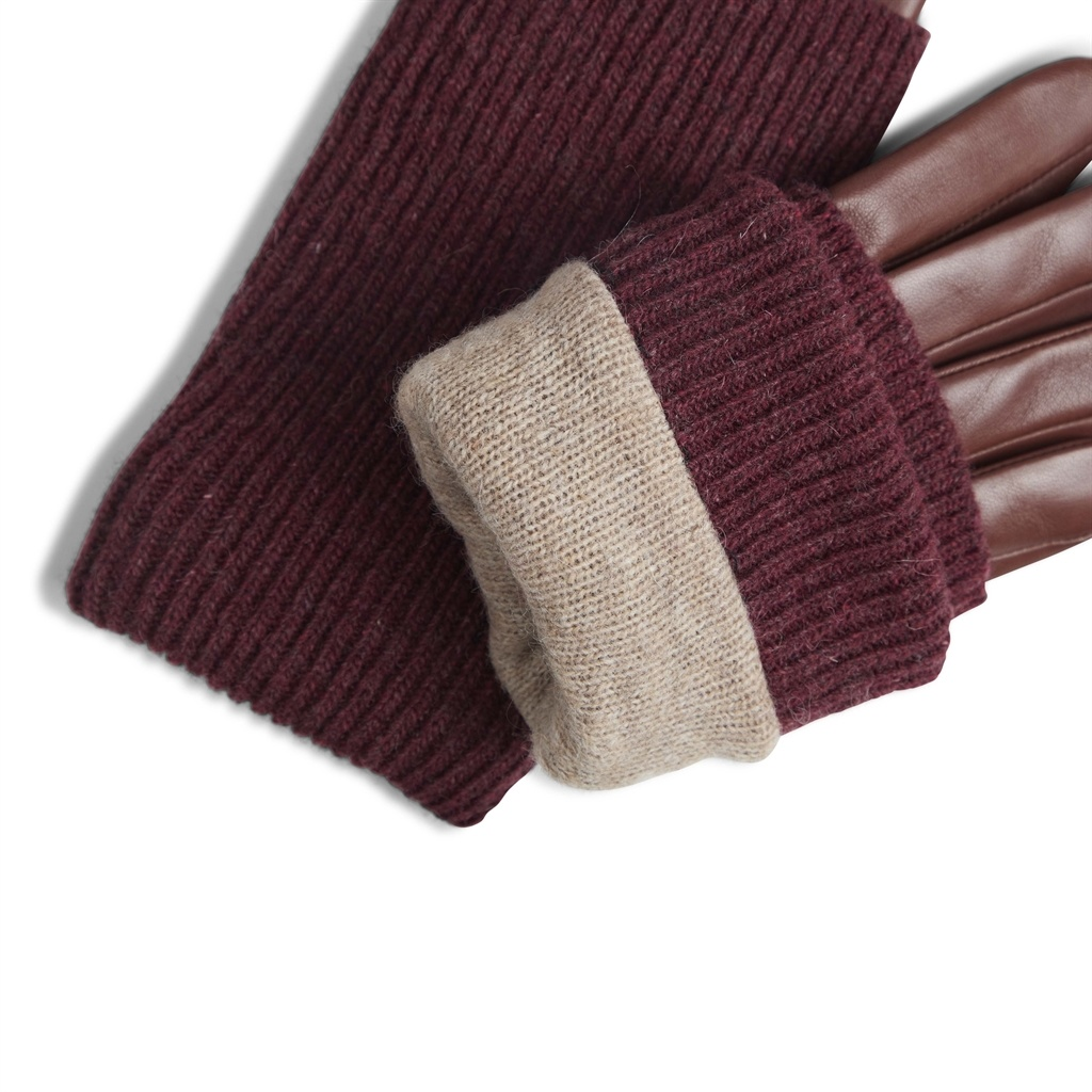 Helly Glove - Cognac w/ Burgundy-4