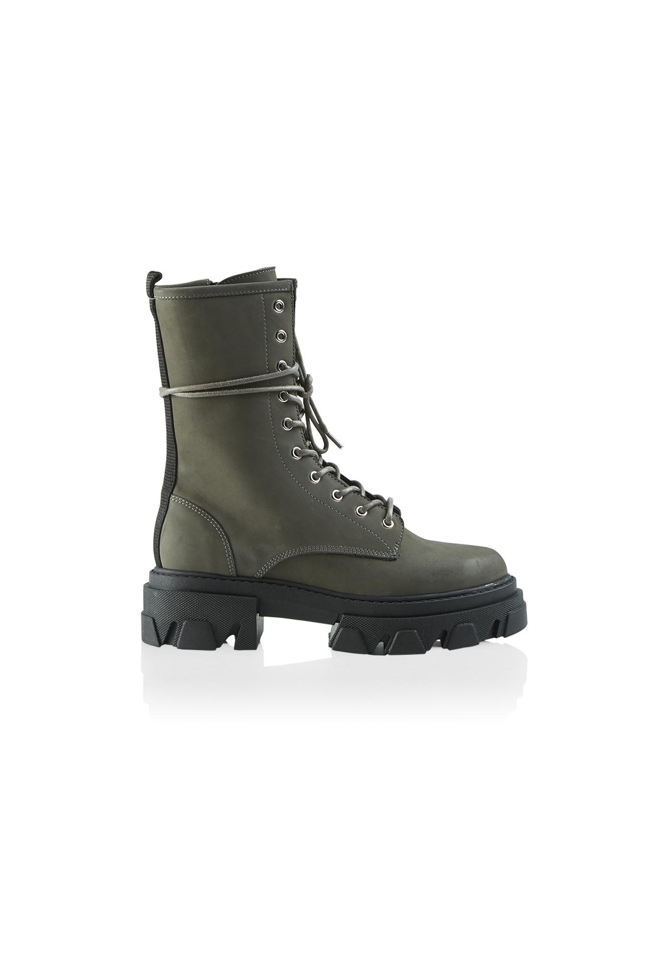 Antonella Nubuck Boot - Military-1