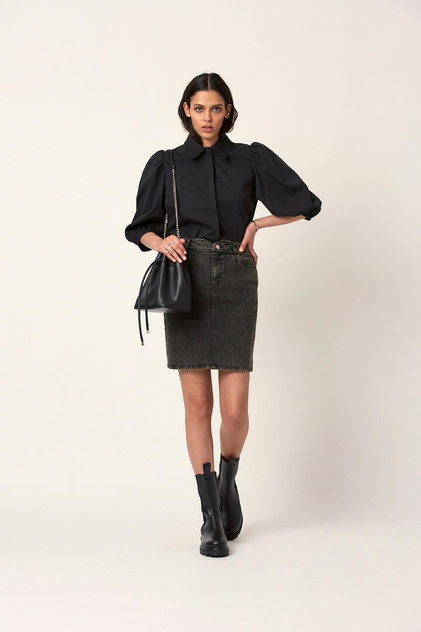 Emily Snow Wash Skirt - Raven Black-2