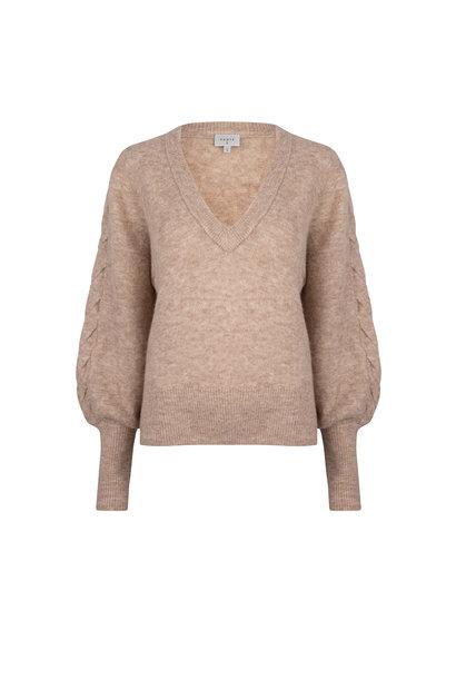 Broame Sleeve Braided Sweater - Beige Eclipse