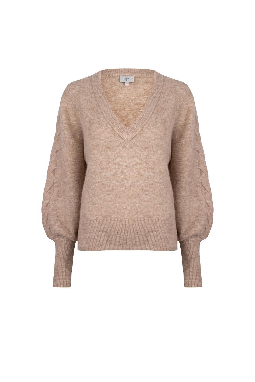 Broame Sleeve Braided Sweater - Beige Eclipse-1