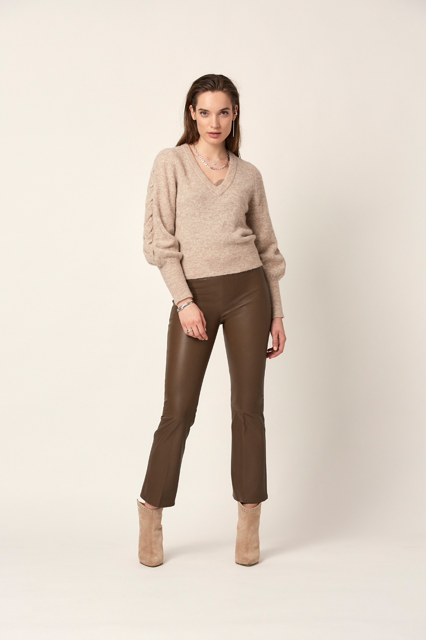 Broame Sleeve Braided Sweater - Beige Eclipse-2