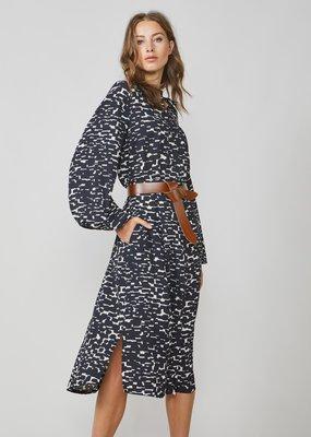 Summum Long Dress all over print black