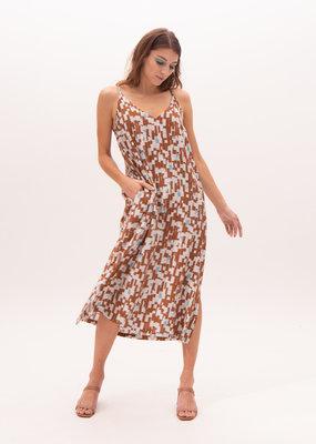 Nathalie Vleeschouwer Long dress brown/light blue print