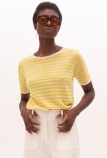 Nathalie Vleeschouwer Pull korte mouw gele streep 56368/3