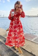 Lolly's Laundry Long dress rode bloemenprint 56333/18
