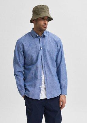 Selected Heren Linnen shirt medium blue