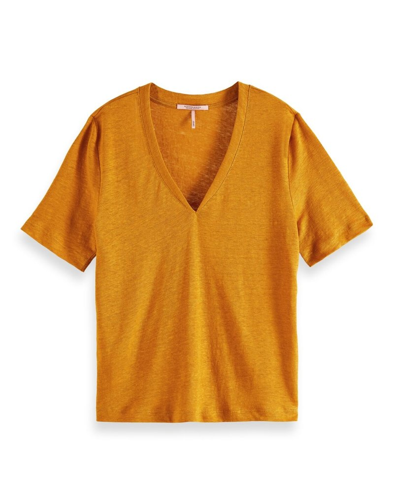 Maison Scotch Linnen Tee V-neck oranje
