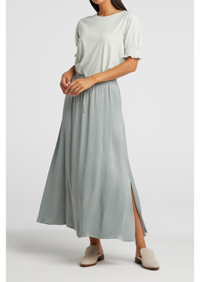 Yaya Long satin skirt