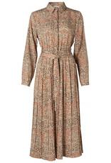 Yaya Printed plissé dress beige 56182/4