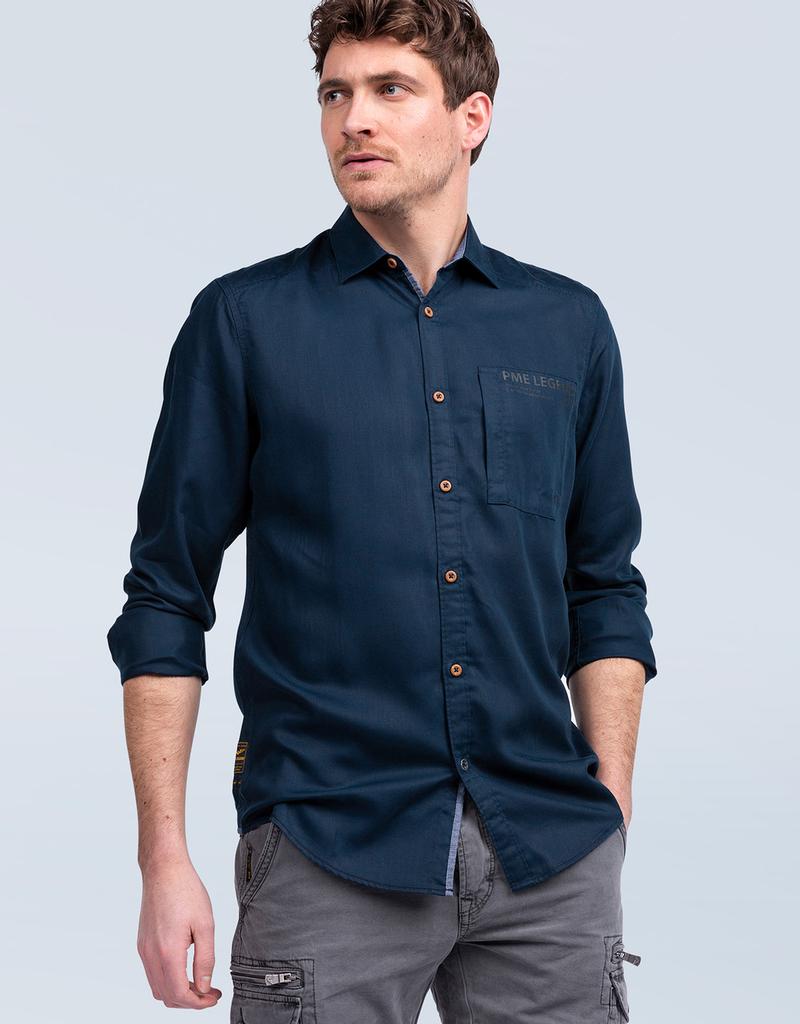 PME Tencel shirt blauw 56976/13