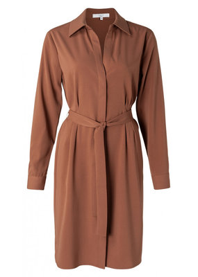 Yaya Belted button up midi dress