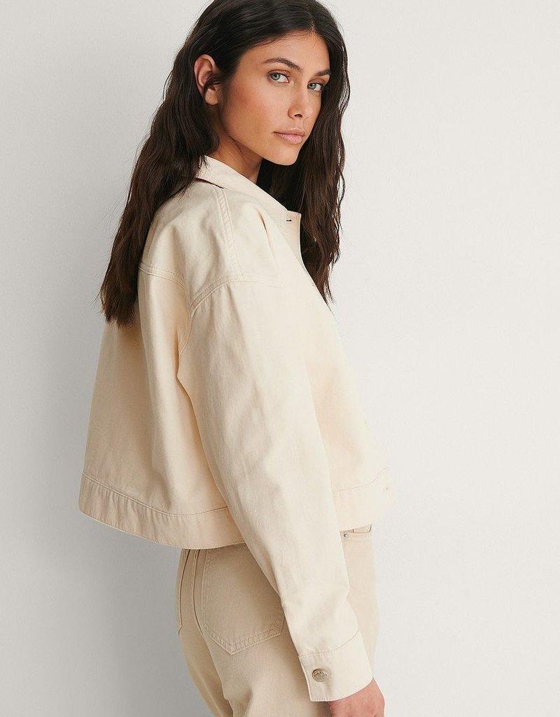 NA_KD Cropped denim jacket light beige