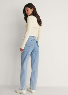 NA-KD Contrast pocket high waist denim