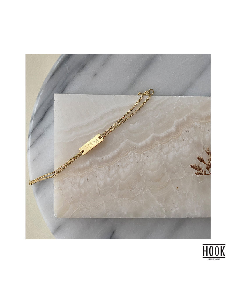 SMALL RECTANGULAR TAG - DOUBLE CHAIN