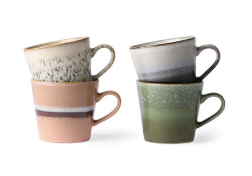 HKliving ceramic 70's cappuccino mugs (set of 4)