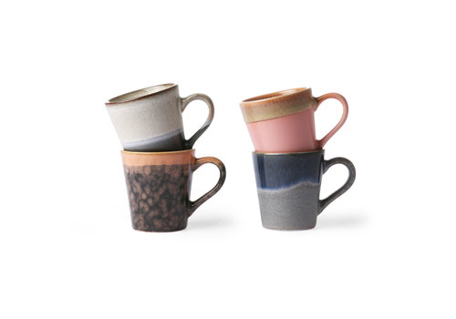 HKliving Ceramic 70's espresso mugs (set of 4)