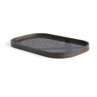 Valet tray - Ink Linear Squares glass - rectangular