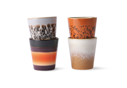 HKliving 70s ceramics: ristretto mugs (set of 4)