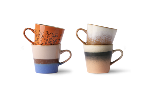 HKliving 70s ceramics: americano mugs (set of 4)