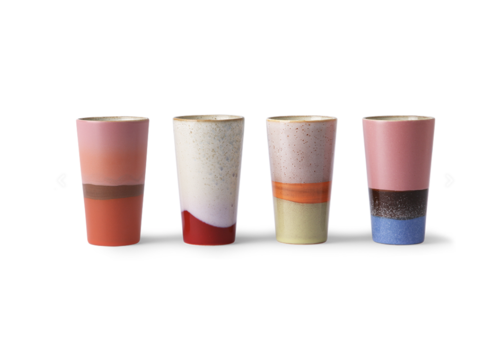 HKliving 70s ceramics: latte mugs (set of 4)
