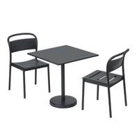 Linear Steel Side Chair Zwart