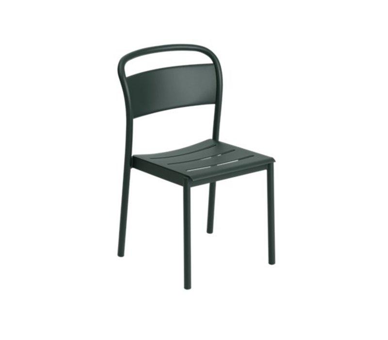 Linear Steel Side Chair Donkergroen