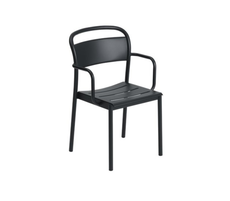 Linear Steel Armchair Zwart