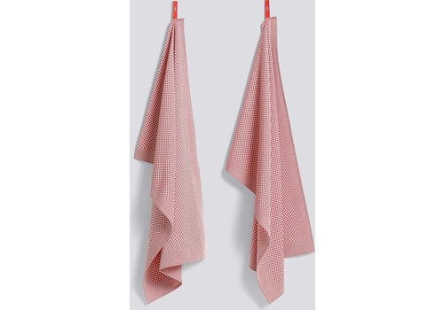 Hay Check Tea Towel Pink 2pcs