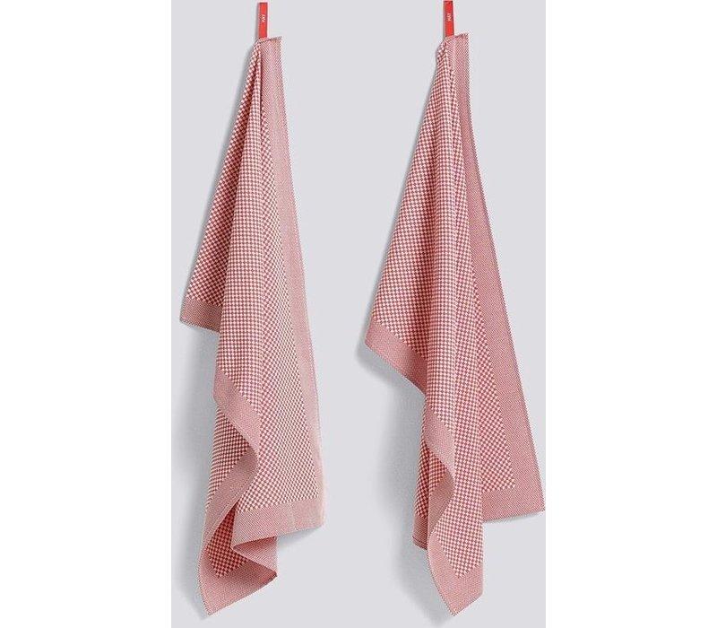 Check Tea Towel Pink 2pcs