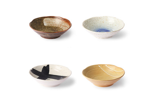 HKliving Kyoto Ceramics - Shallow Bowls (4 stuks)